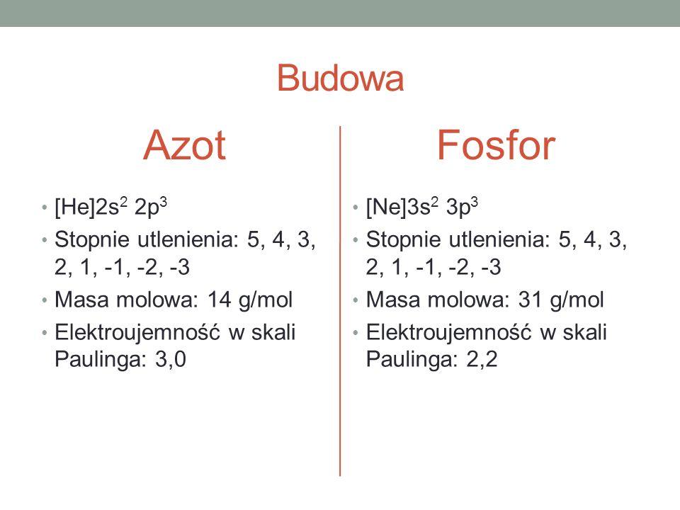 Azot Fosfor Budowa [He]2s2 2p3
